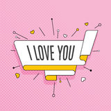 I love you. Retro design element in pop art style on halftone co Stock Images
