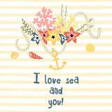 I love you retro style card Royalty Free Stock Photography