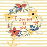 I love you retro style card Royalty Free Stock Images