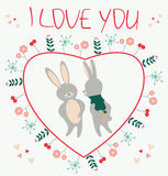 I love you. Romantic card with couple rabbits lovers illustratio Royalty Free Stock Photos