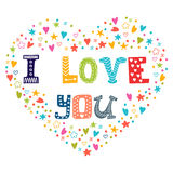 I love you. Romantic card with heart Royalty Free Stock Photos
