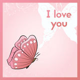 I love you. A romantic ecard. Postcard with butterfly and plant. Pink greeting card. Royalty Free Stock Photo