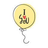 I love you - romantic quote. Cute hand drawn lettering in ballon illustration. Greeting template for Valentine`s day. Royalty Free Stock Images