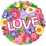 I love you. Round Abstract background made of flowers, cups, butterflies,  and birds Stock Photos