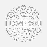 I Love You round vector linear concept illustration. I Love You round vector illustration or symbol in thin line style. Valentines day concept Royalty Free Stock Photo