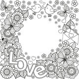 I love you. Rounder frame made of flowers, butterflies, birds kissing and the word love. Stock Photo