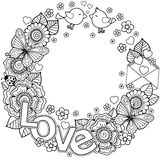 I love you. Rounder frame made of flowers, butterflies, birds kissing and the word love. Coloring page for adult. Rounder frame made of flowers, butterflies vector illustration