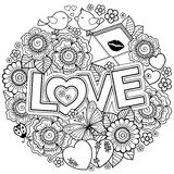 I love you. Rounder frame made of flowers, butterflies, birds kissing and the word love. Stock Photography