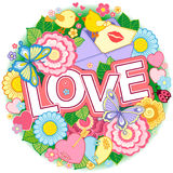 I love you. Rounder frame made of flowers, butterflies, birds kissing and the word love. Stock Photos