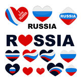 I love you Russia Big set heart Russian flag Stock Images
