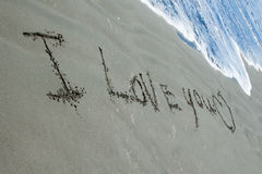 I Love You Sand royalty free stock photos