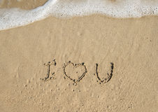 I Love you in sand Royalty Free Stock Images