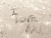I Love You in Sand Royalty Free Stock Image