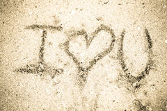 I love you on sand Royalty Free Stock Photos