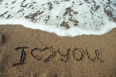 I love you on a sand of beach. Royalty Free Stock Images