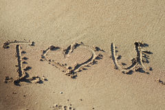 I love you on a sand of beach. Stock Photo