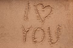 I Love you in the sand Royalty Free Stock Image