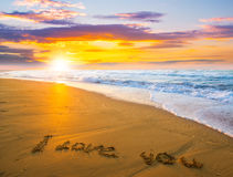 I love you on sand beach Royalty Free Stock Photos