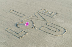 I love you on sand Royalty Free Stock Photography