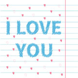 I love you scribble effect text on lined on paper Stock Photo