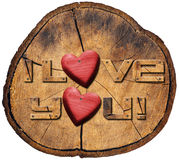 I Love You! on Section of Tree Trunk Royalty Free Stock Photography