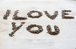 I love you from the seeds. Seeds of flax making tittle I love you Stock Images