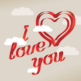 I love you sentence. With clouds Royalty Free Stock Photos