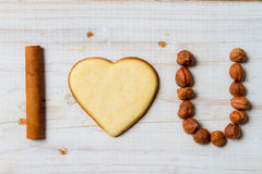 I love you sentence arranged with cookies and nuts Stock Image