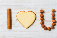 I love you sentence arranged with cookies and nuts Royalty Free Stock Images