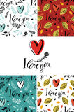 I love you set with backgrounds and cards Stock Image