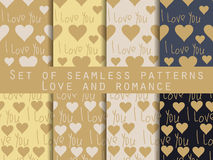 I love you. Set of seamless patterns with hearts. Festive patter Stock Image