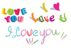 I love you - set of  stylish text. Over white Stock Images