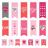 I love you. Set of wedding flags and design elements. Banners for Valentines day. Handwritten lettering. Vector illustration Royalty Free Stock Images