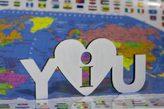 I love you sign on  background of the Earth Stock Image