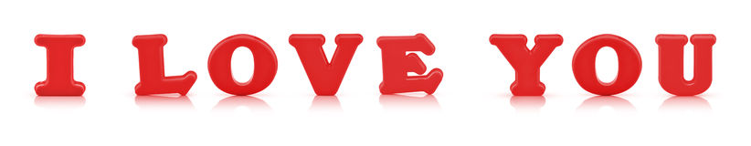 I love you sign made out of alphabet with clipping path Royalty Free Stock Photography