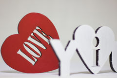 I love you sign on a red background heart Stock Photography