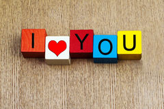 I Love You - sign for relationships, Valentines Day and romance. I Love You - sign for relationships and romance with heart symbol royalty free stock images