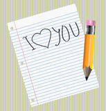 I Love you sign on the sheet of paper Royalty Free Stock Images