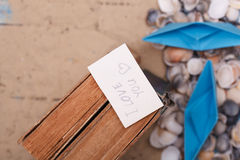 I Love You sign on vintage book. note with words Stock Photo