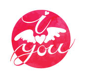 I love you sign with a winged heart Royalty Free Stock Images