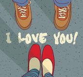 I love you sign young couple card Royalty Free Stock Image