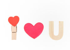 I love you speel with wood heart Stock Photos