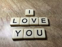 I Love You Spelled In Letter Tiles Stock Photos