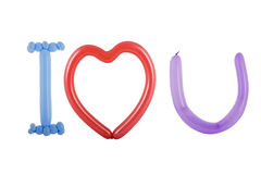 I love you spelled out with balloons Stock Images