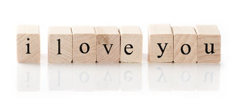 I love you spelled in wooden blocks Stock Photos