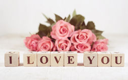 I love you spelled in wooden blocks Stock Photography