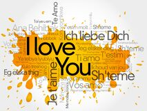 `I love you` word cloud in all languages of the world