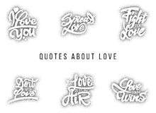 I love you, spread , fight for , do it with , what , always wins. Hand-lettering text .  Stock Images