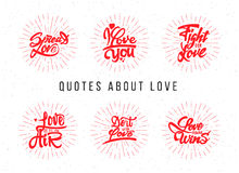 I love you, spread , fight for , do it with ,  what  ,  always wins. Hand-lettering text . Handmade vector calligraphy Stock Photography