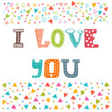 I love you. St. Valentine's greeting card template. Cute postcard Royalty Free Stock Image